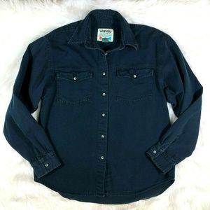 Vintage Wrangler Blue Denim Button Shirt Dark Wash